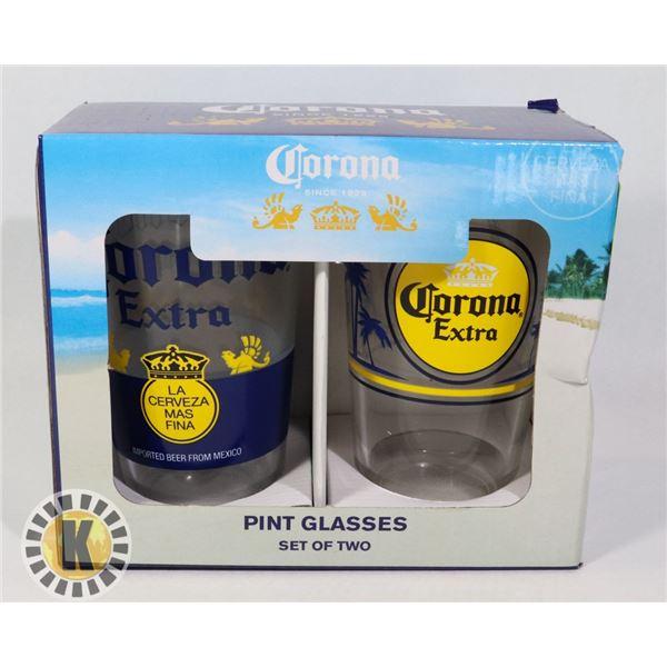 NEW CORONA 2PC PINT GLASS SET