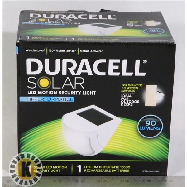 NEW DURACELL SOLAR POWER LED MOTION SECURITY LIGHT