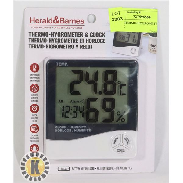 NEW THERMO-HYGROMETER AND CLOCK