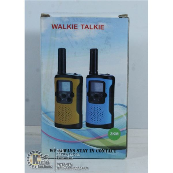 PAIR OF WALKIE TALKIES WITH 3KM RANGE.