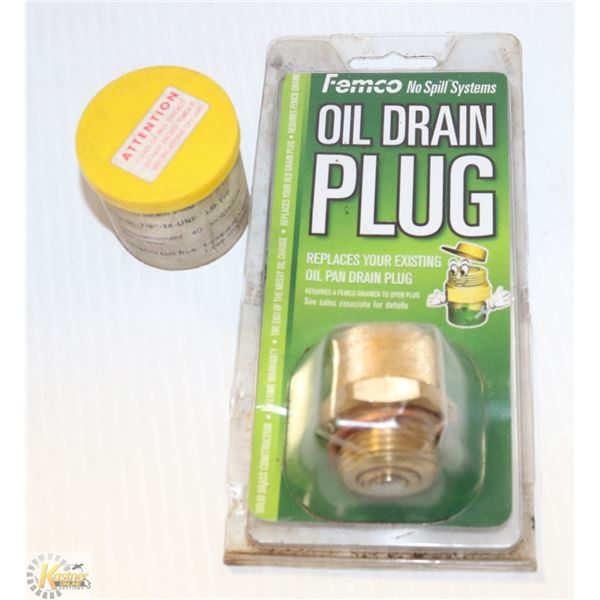 TWO NEW FEMCO OIL DRAINPLUGS NO SPILL SYSTEM.