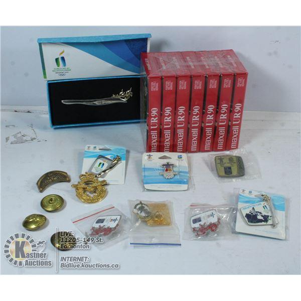 BOX W/ COLLECTIBLE PINS & CANADIAN AIR CADETS PINS