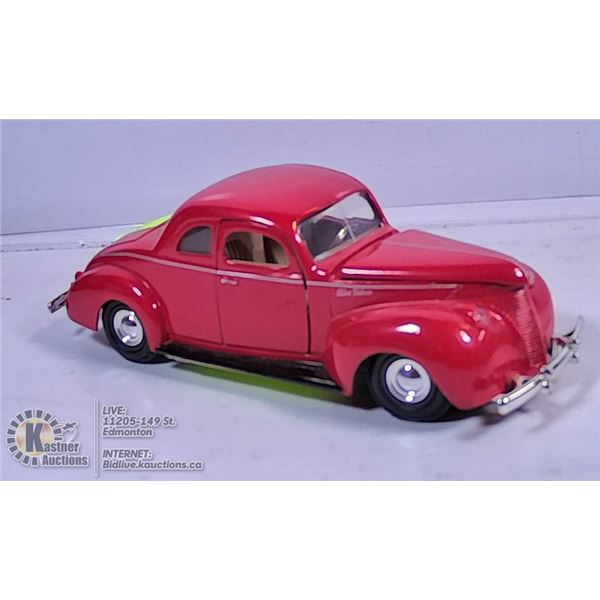 DIE CAST VEHICLE - 1940 FORD DELUX (RED)