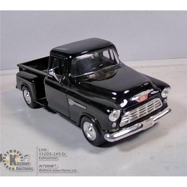 DIE CAST VEHICLE - 1955 CHEVY PICKUP (BLACK)