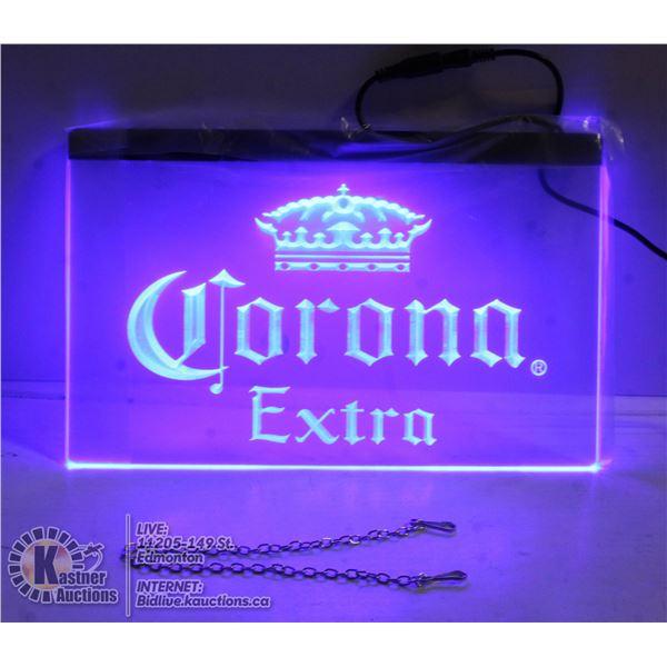 "LIGHTED NEON BLUE ""CORONA EXTRA"" SIGN"