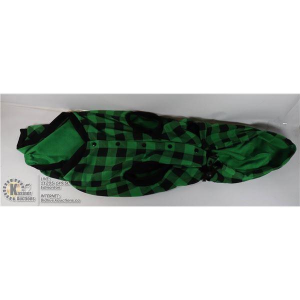 GREEN FLANNEL DOG COAT SIZE XL.