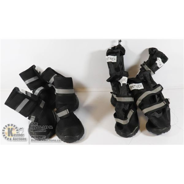 TWO PAIRS OF DOG BOOTS.