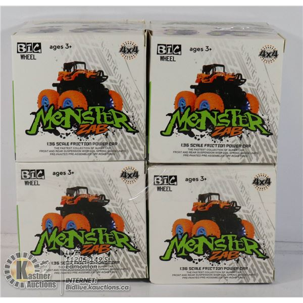 LOT OF 4 MONSTER ZAB FRICTION POWERED CARS.