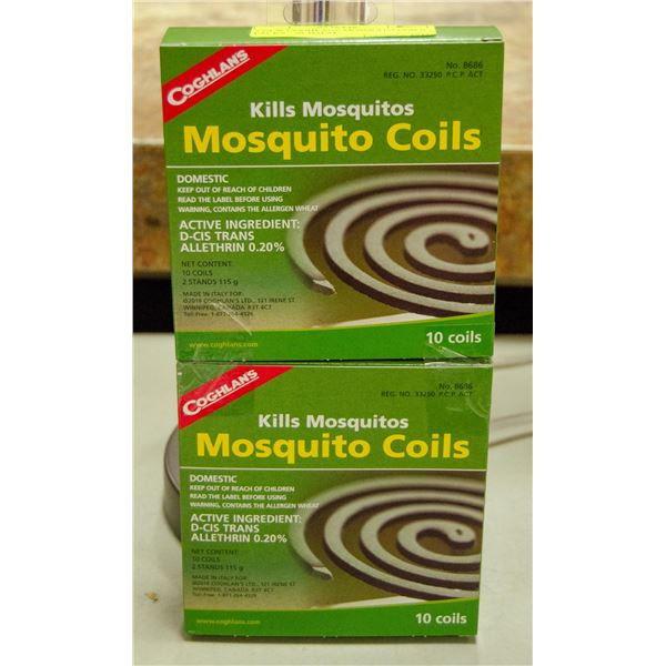 2 NEW COGHLANS MOSQUITO COILS PACKS - 20 TOTAL