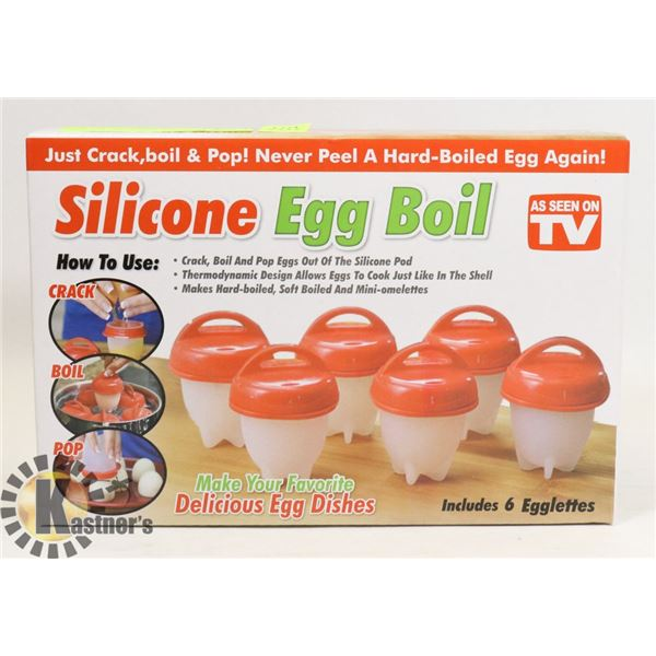 NEW SILICONE EGG BOIL 6PC SET
