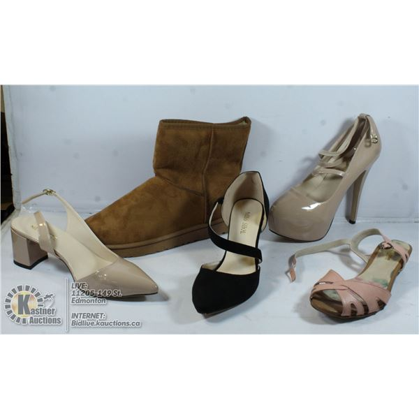 UNCLAIMED 5 PAIRS OF SHOES: SIZES 7,12,9.5,9.5,7