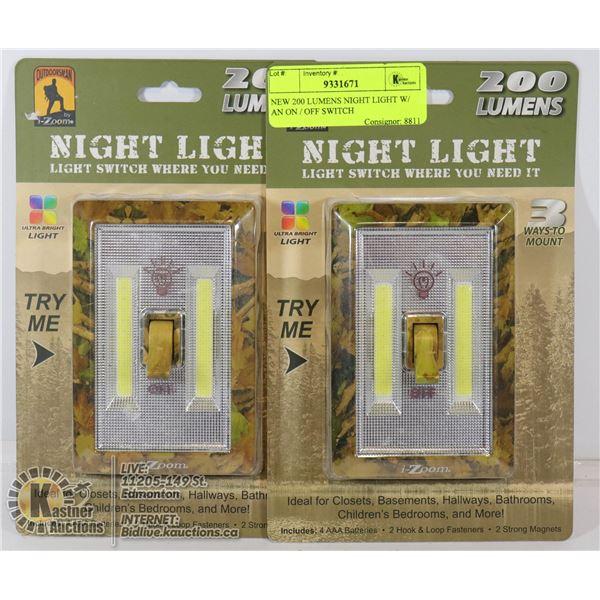 NEW 200 LUMENS NIGHT LIGHT W/ AN ON / OFF SWITCH