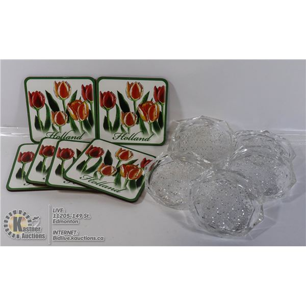 CRYSTAL COASTERS (FRANCE) (6) WITH (6) HOLLAND