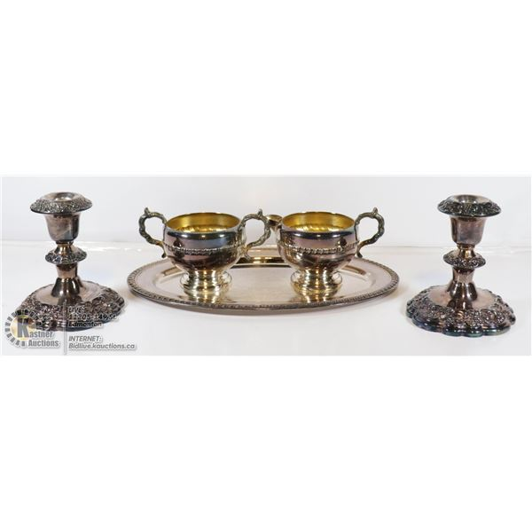 STERLING SILVER CREAM AND SUGAR SET WITH STERLING