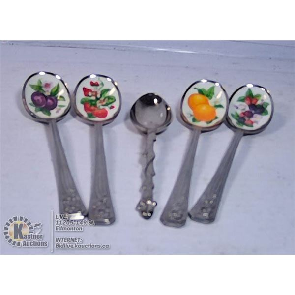 LOT OF 5 DECORATIVE SPOONS WITH FRUIT INLAY