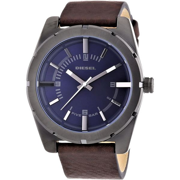 NEW DIESEL BLUE DIAL LEATHER STRAP 42MM MSRP $229