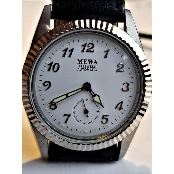 NEW MEWA WHITE FACE 21 JEWEL AUTOMATIC WATCH