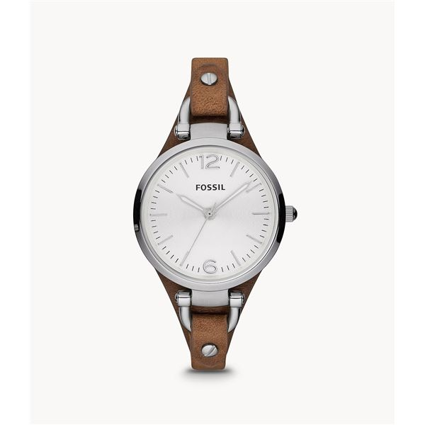NEW FOSSIL WHITE DIAL BROWN LEATHER STRAP 32MM