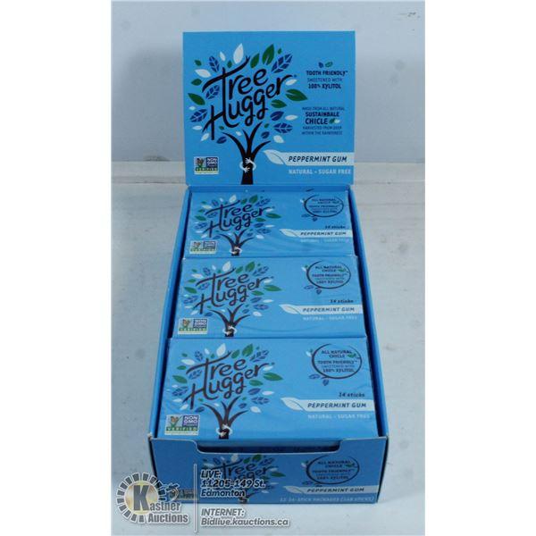 BOX OF TREE HUGGER PEPPERMINT GUM - 12 PACKS