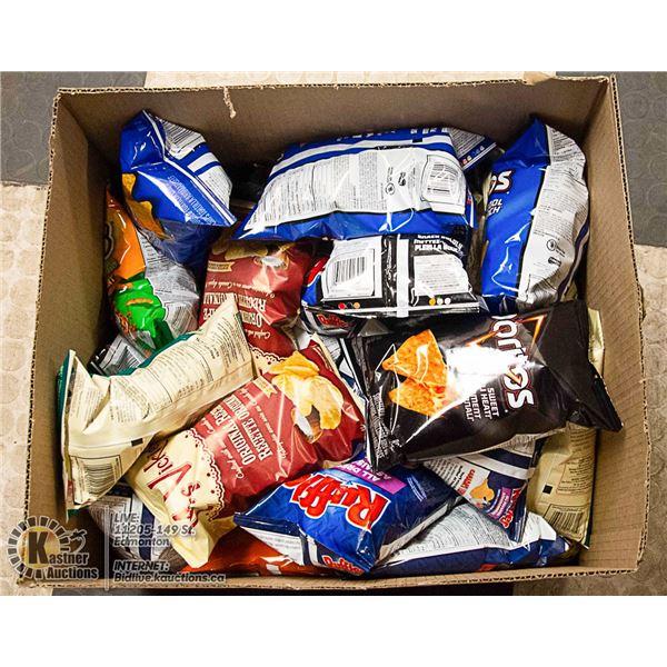 BOX LOT OF POTATO CHIPS