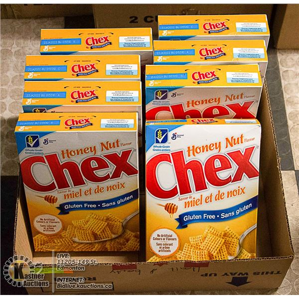 BOX LOT OF HONEY NUT CHEX CEREAL BOXES