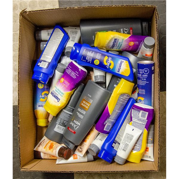 FLAT LOT OF VARIOUS SUNSCREEN AND HAIR CARE ITEMS