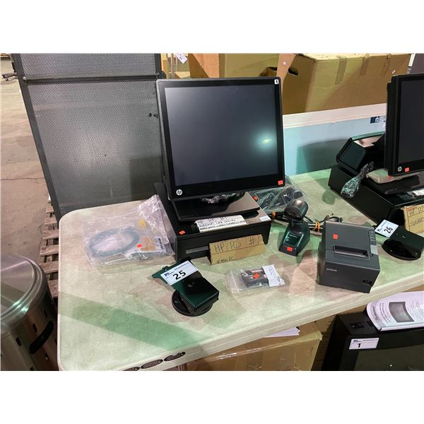 HP TOUCH SCREEN POINT OF SALE SYSTEM WITH CASH DRAWER, EPSON RECEIPT PRINTER, DATALOGIC SCANNER,