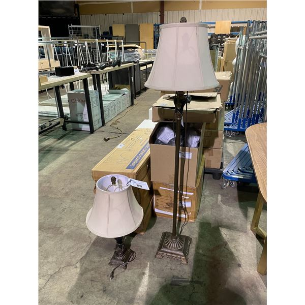 BROWN TRADITIONAL TABLE & FLOOR LAMP WITH SHADES