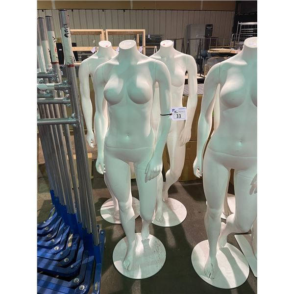 3 WHITE STORE DISPLAY MANNEQUINS