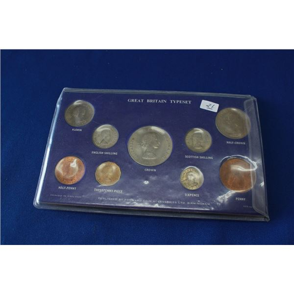 """Great Britain """"typeset"""" of Assorted Coins (9) - 1965"""