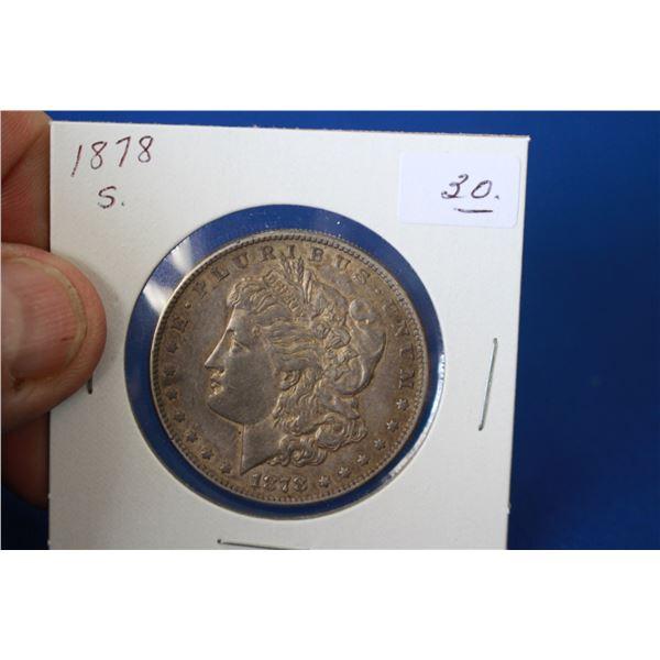 U.S.A. Morgan Dollar Coin (1) - 1878S; 90% Silver