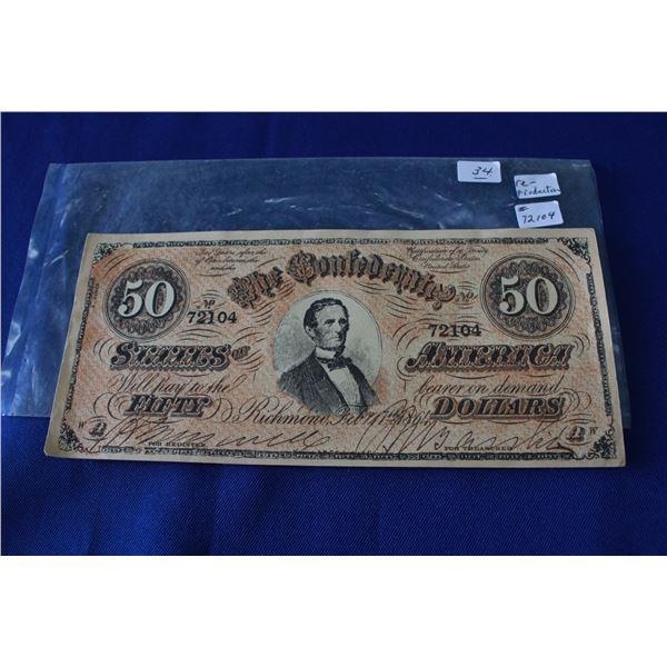 U.S.A. Confederate Fifty Dollar Bill (1) **Reproduction; Feb. 17, 1864
