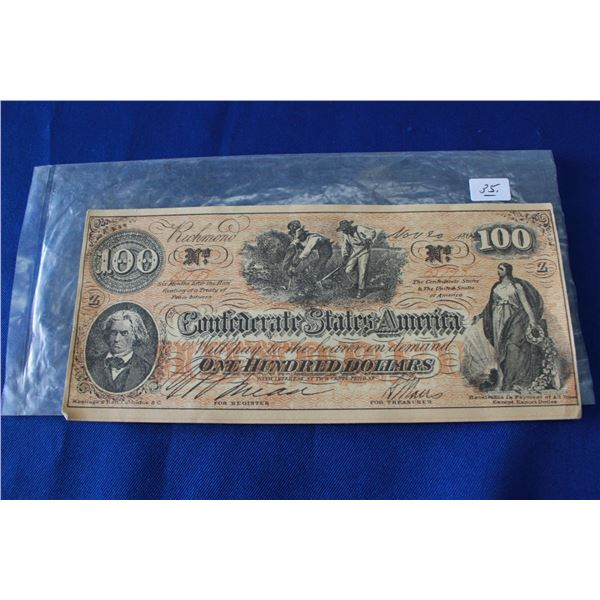 Confederate States of America One Hundred Dollar Bill (1)