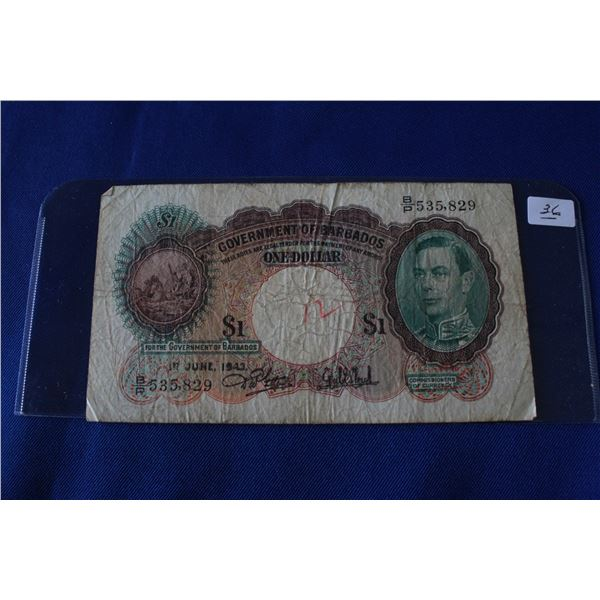 Government of Barbados One Dollar Bill (1) - June 1943