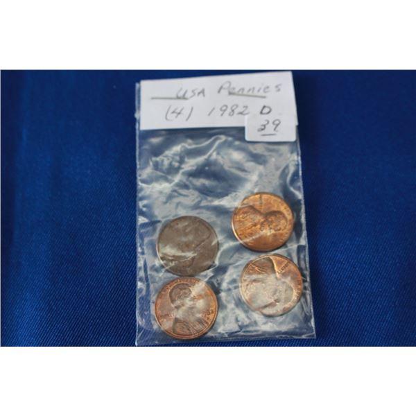U.S.A. One Cent Coins - (4) - 1982D