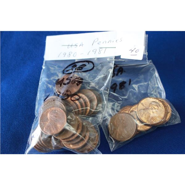 U.S.A. One Cent Coins - (2) - 1980, 1981
