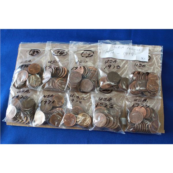 U.S.A. One Cent Coins - 1970 to 1979