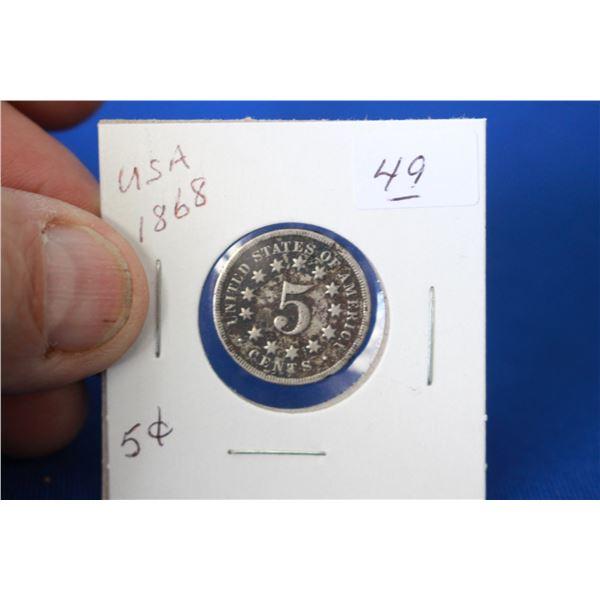 U.S.A. Five Cent Coin (1) - 1868