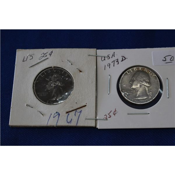 U.S.A. Twenty-five Cent Coins (2) - 1967, 1973D