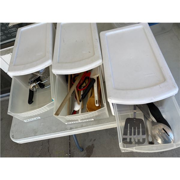 3 containers of kitchen utensils