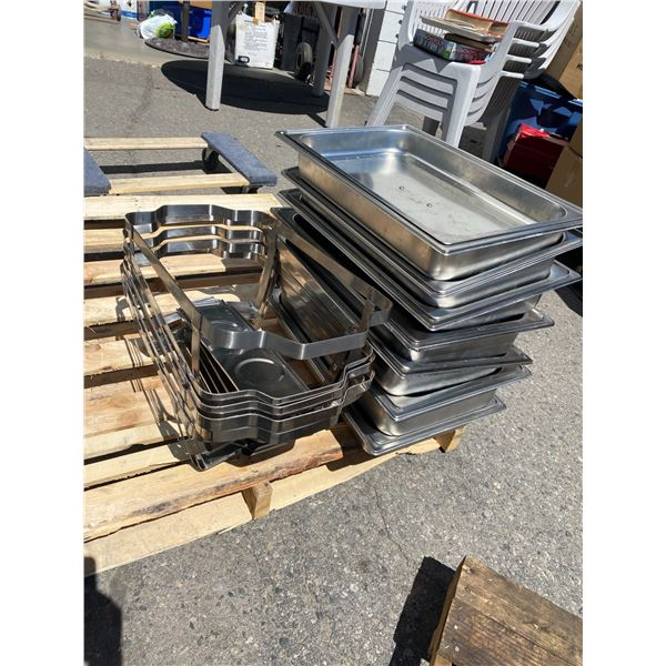 Lot of chafing dishes with lids and stand