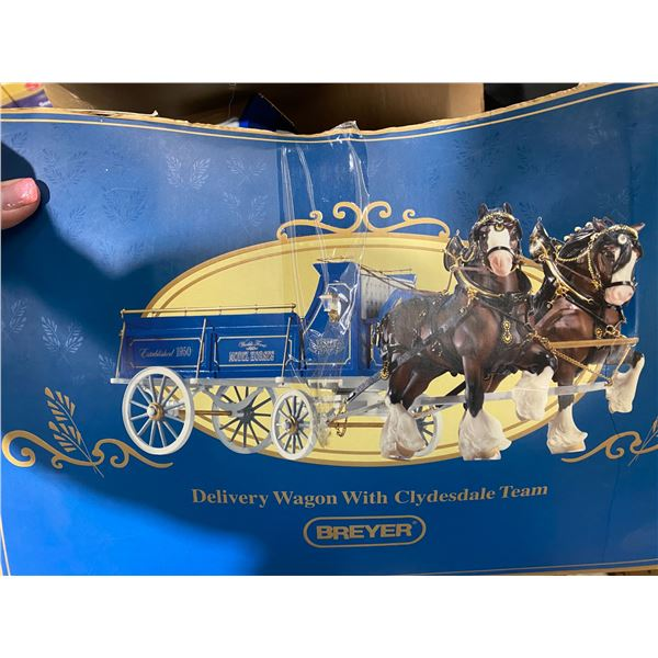 Breyer delivery wagon with Clydesdale team