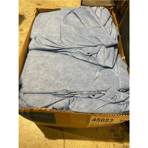Case of blue hooded size large coveralls