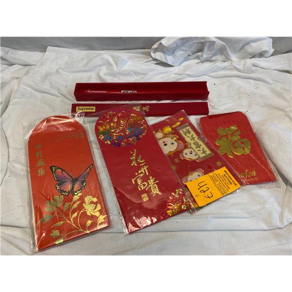 Supreme chopsticks and money envelopes