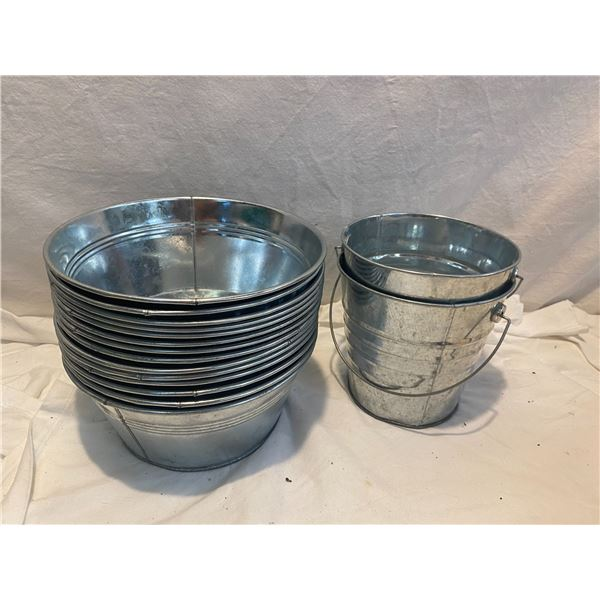 Lot of small pails and small buckets