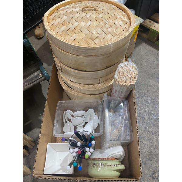 Chopsticks and miscellaneous kitchen/serving items