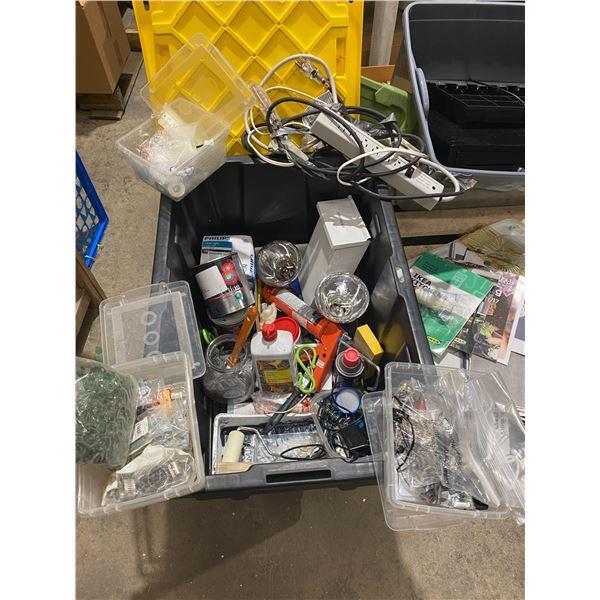 Misc hardware, hinges fluids light bulbs and bin