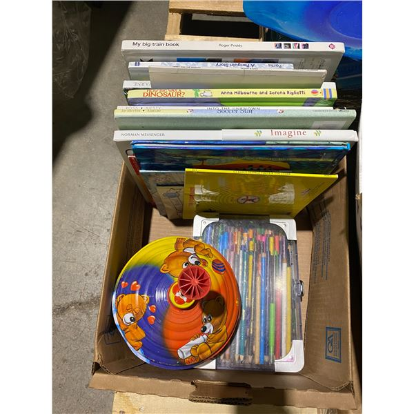 Lot books spinning top and pencil crayons