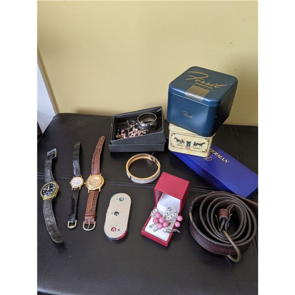 watch, boxes,  jewelry lot
