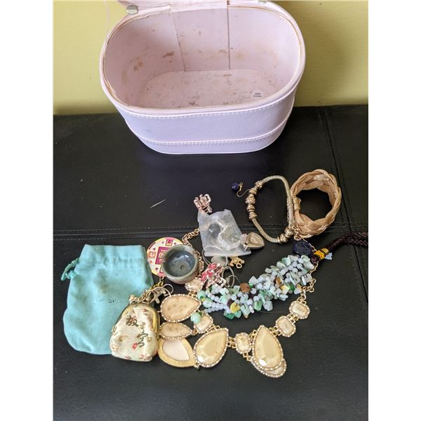pink zippered case jewelry lot